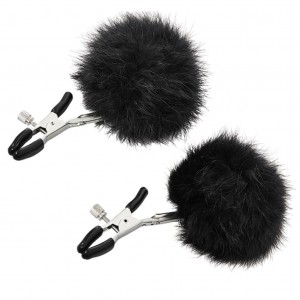 Zaciski na sutki - Sportsheets Sincerely Fur Nipple Clips Black